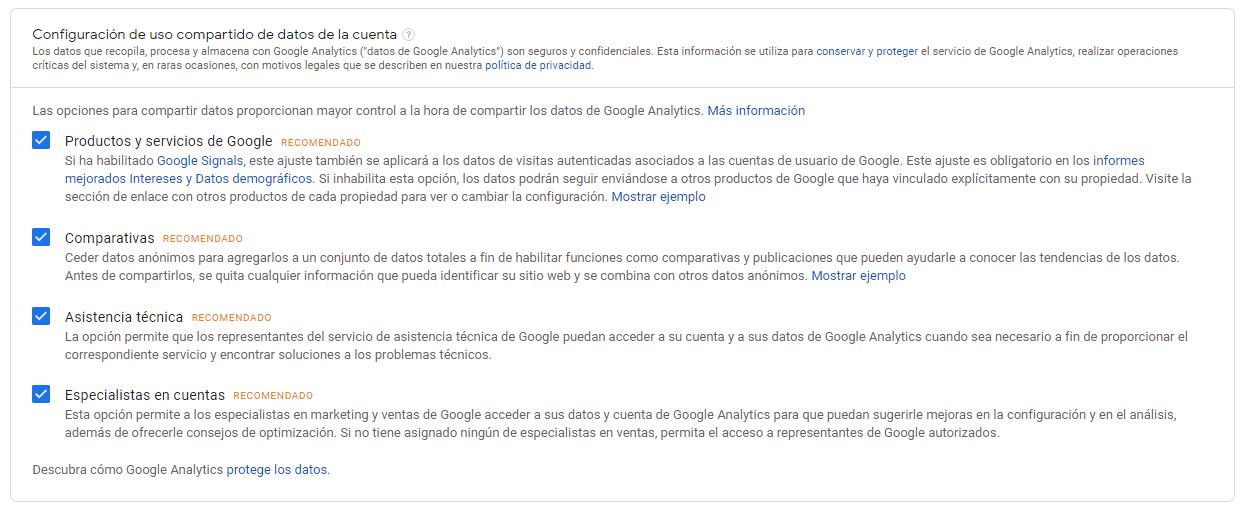 Configuración de uso compartido de datos de la cuenta