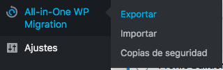 all in one wp migration ajustes