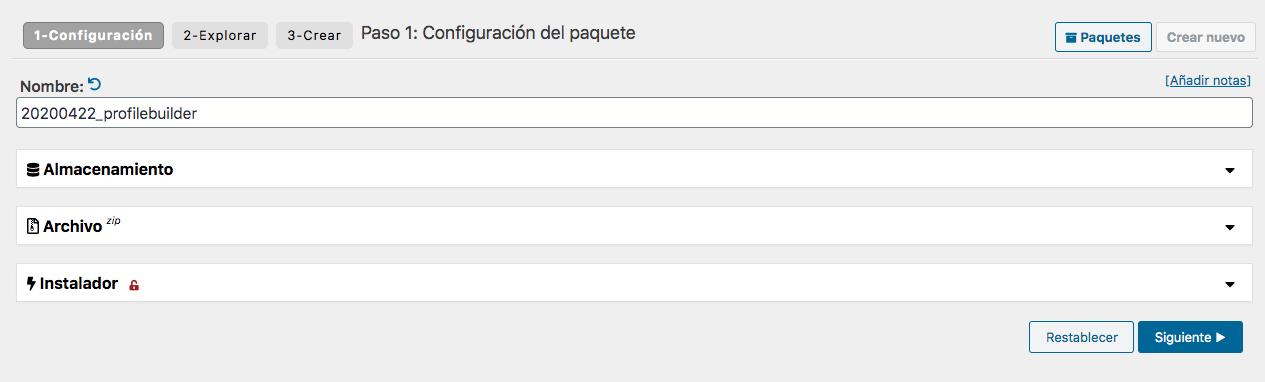 Creación de un paquete de copia de seguridad con Duplicator: Paso 1 - Configuración