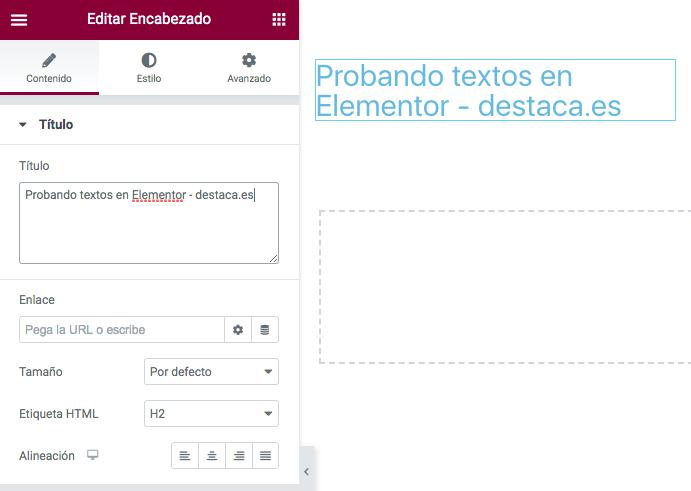 Editando el contenido de un encabezado de Elementor
