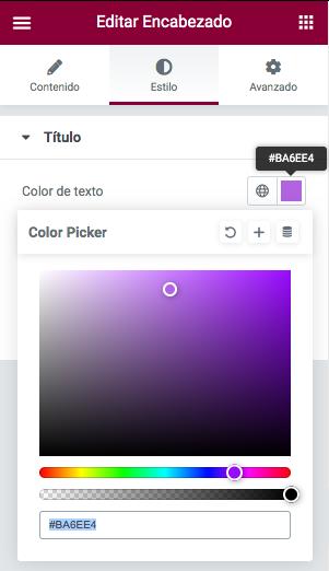 Cambiando el color de un encabezado en Elementor