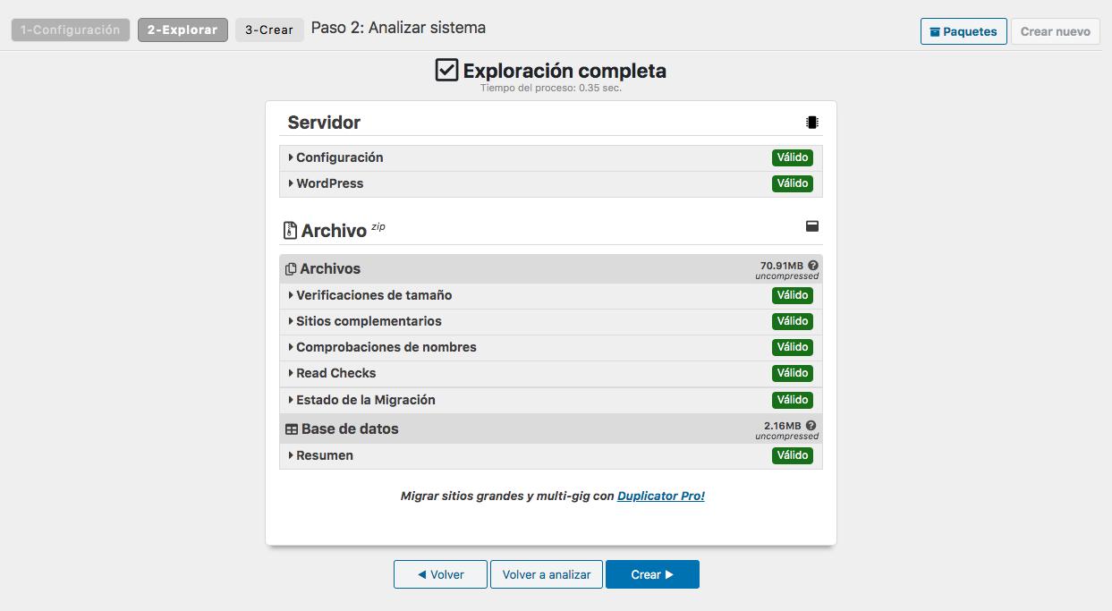 Creación de un paquete de copia de seguridad con Duplicator: Paso 2 - Explorar
