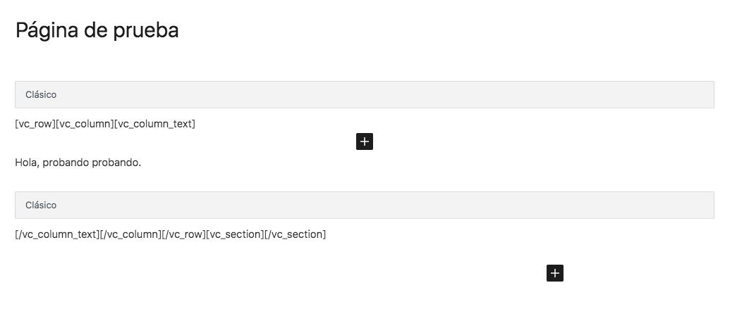 Editando una página después de desactivar Visual Composer - Resultado después de darle a Solucionar