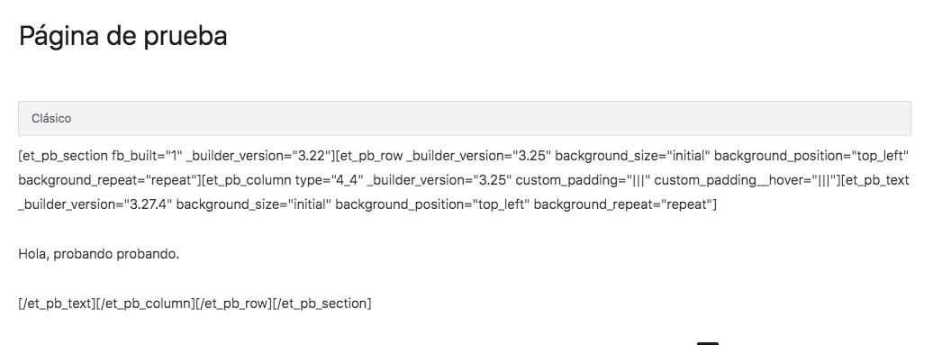 Editando la página tras desactivar Divi / Divi Builder