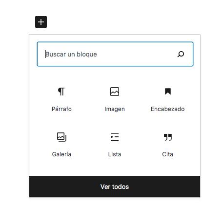 Ventana al hacer click en el icono + de Gutenberg