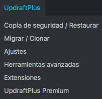 updraftplus ajustes
