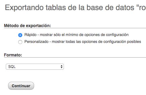 phpMyAdmin tablas base de datos