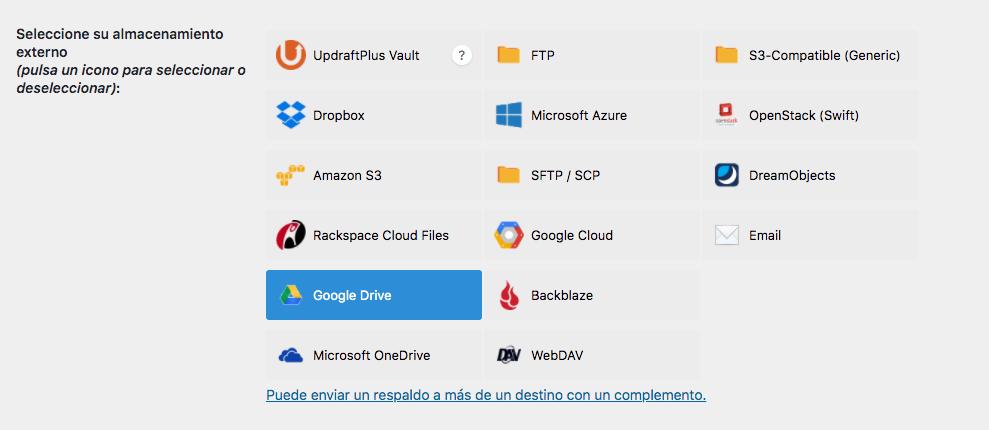 Almacenamientos externos disponibles en UpdraftPlus para subir las copias de seguridad de WordPress que hayamos programado.