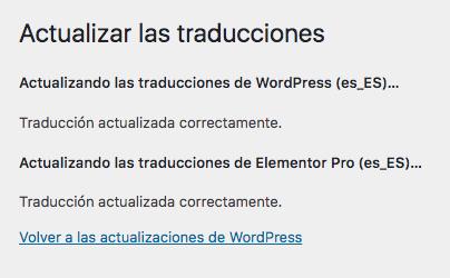 Actualizar Traducciones WordPress