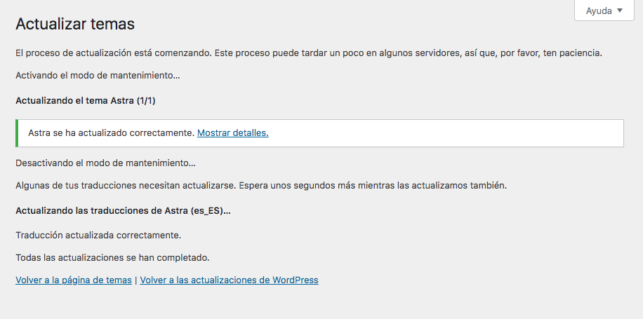 Actualizar Themes WordPress