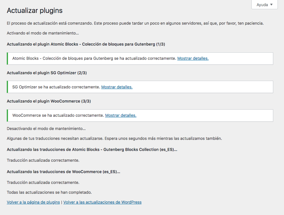 Actualizar Plugins WordPress