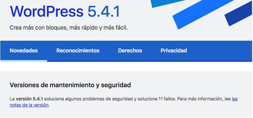 novedades de la actualización 5.4.1 de WordPress