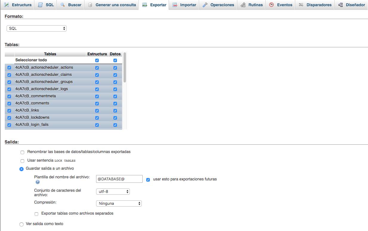 Exportación personalizada de una base de datos en phpMyAdmin