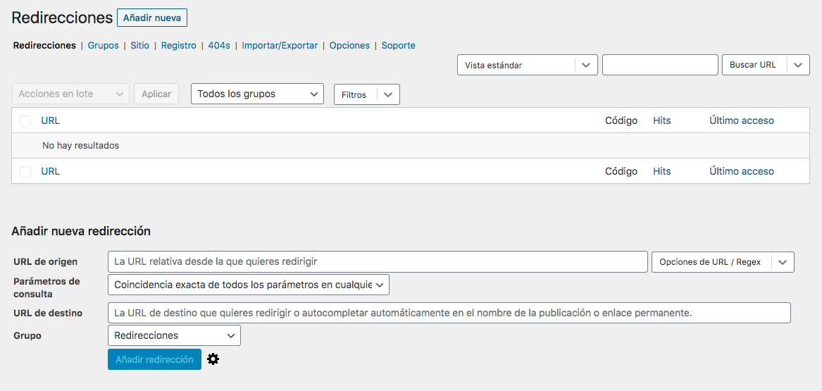 Redirecciones Plugin Redirection Enlaces Rotos
