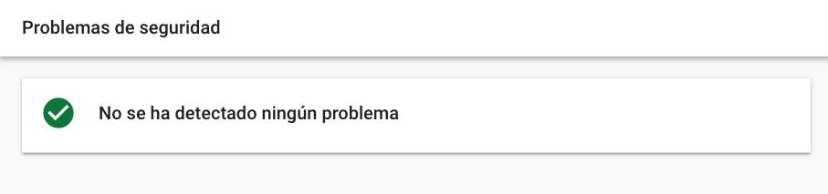 Sección de problemas de seguridad en Google Search Console