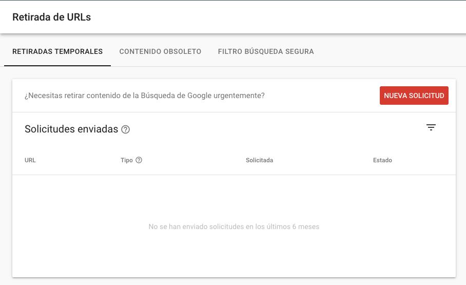 Sección de retirada de URLs de Google Search Console