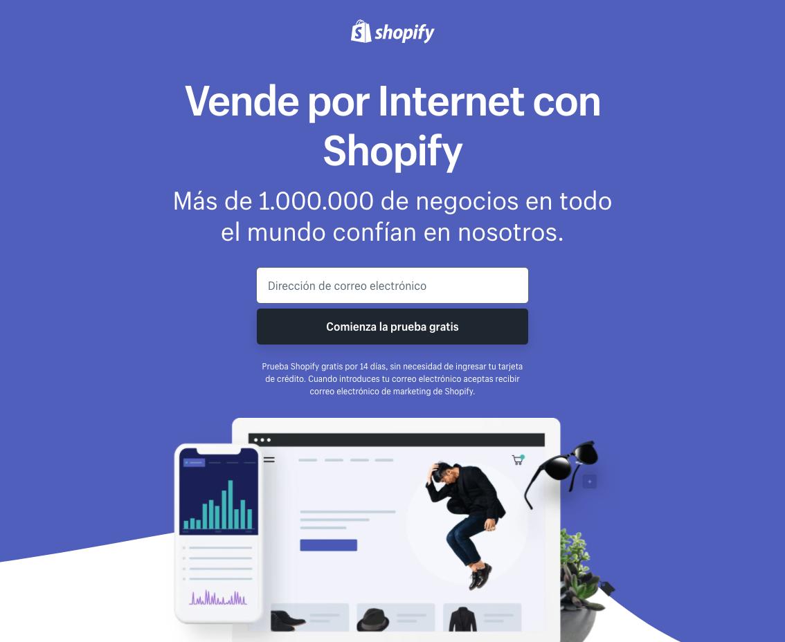 Ejemplo de página de aterrizaje sin distracciones: Shopify
