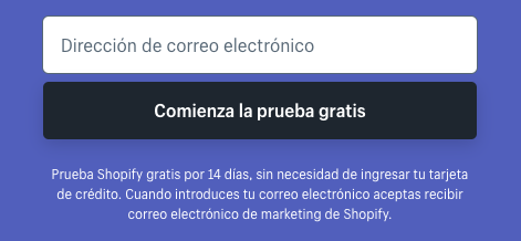 Ejemplo de CTA: Shopify