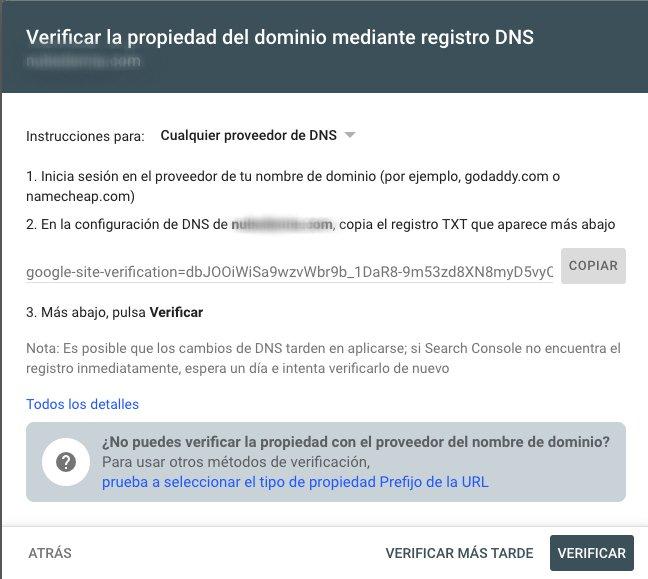 Verificar la propiedad del dominio mediante registro DNS